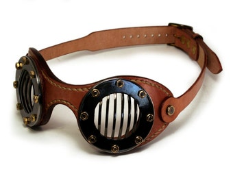 STEAMPUNK GOGGLES tan leather blackened steel FLATS
