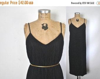 SALE 40% OFF Vintage Black Dress / CRINKLED / L-Xl