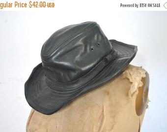 SALE Black Floppy Leather Hat / boho hippie FESTIVAL
