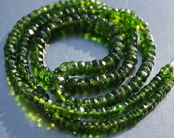 "GREEN...Chrome Diopside Faceted Rondelle Beads, 3"" strand , 3-3.7mm diameter size, 45 beads"
