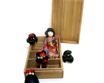 Japanese Geisha Doll with 5 Wigs Vintage 1940s 50s Katuraningyo