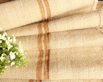 R 224 antique hemp french GOLDEN CARAMELL upholstery 4.699 yards handloomed STAIRUNNER benchcushion Beachhouse look