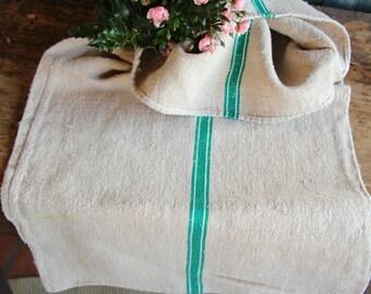 C 740 grainsack, antique linen, BRIGHT GREEN and white; pillow cushion;  upholstering; bathmath, tablerunner, christmas, thanksgiving