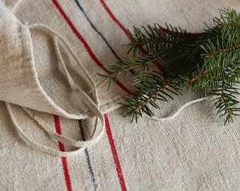 C 631 antique BLUE and RED grain sack upholstery fabric 44.88 long CHRISTMAS upholstery lin