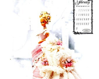 "Crochet Pattern Leaflet  Miss February 1993 Victorian Lady Centennial Collection Annie's Calendar Bed Doll Society - Fits 11.5"" Fashion Doll"