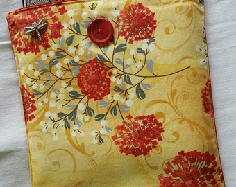 10% OFF SALE!  IPad, Tablet Holder Yellow with Red Flowers
