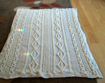 Knit Afghan in Donni Cable in Aran, Blanket, Throw, Lap Robe, Christening Blanket