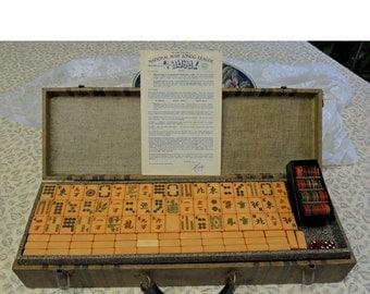 Vintage Mah Jongg Set, Butterscotch Bakelite Tiles, Celluloid Mah Jong Coins, 4 Wood Racks, MahJong Assn. Rules 1975