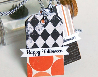 Happy Halloween Tags, Halloween Banner Tags . Set of 6