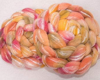 Hand painted  spinning fibre, Merino, Bamboo, Spinning wool, Hand dyed fiber, fibre, felting fibre, roving, colour: Grand Illusions