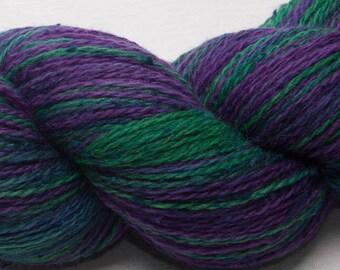 Hand painted Merino 90% slub Tussah SILK 10 light fingering yarn 100g Martha