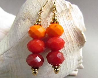Fall Color Beaded Earrings, SRAJD, Orange, Red, Thanksgiving, Halloween