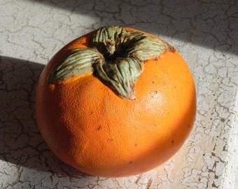 porcelain persimmon, orange fruit sculpture