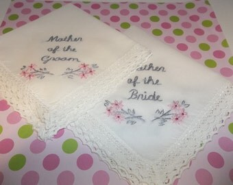 cherry blossom , wedding handkerchief, hand embroidered, mother of bride, mother of groom, blush pink, wedding colors welcome