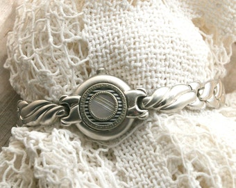 Bracelet made of Watch Band, Watch Case and Victorian Mother of Pearl and Silver Button