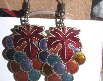 Dangle Earrings Grapes Wine Tasting Cloisonne Drops for Pierced Ears