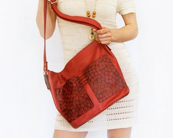 "lined red leather bag with pockets - large zipper shoulder bag, genuine cow leather tote - italian quality leather ""ROSA"""