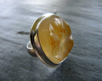 Statement Ring of Botryoidal Agate and Sterling Silver