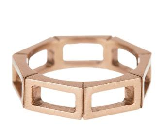 Reclaimed bronze geometric Print ring