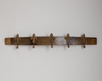 Wine Barrel Coat Rack with Cast Iron Fleur De Lis Hooks