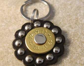 Leather Concho Bullet Keyring