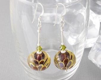 Dahlia Dangle Lampwork Earrings