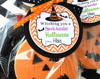 Halloween Gift Tags, Witch Hat Tags, Halloween Party Favor Tags -Set of 12