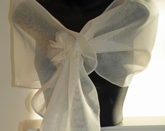 Silk Organza Pull Thru Wrap/Shawl/Shrug..Hands Free style..Clutch/Wristlet available..Bridal/Wedding/Evening..Gift..Navy/Black/Ivory/White..