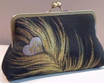 Silk Kimono Fabric Clutch/Purse/Bag..Black w/gold and silver Peacock Feather