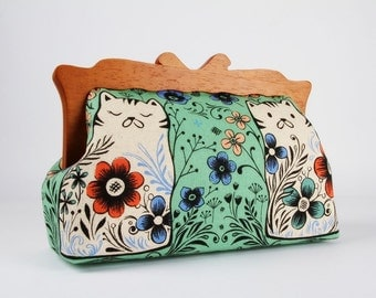 Clutch purse with wooden frame - Pennie in mint - Home purse / Cotton and Steel / Sarah Watts / Folk cats and flowers / blue coral peach