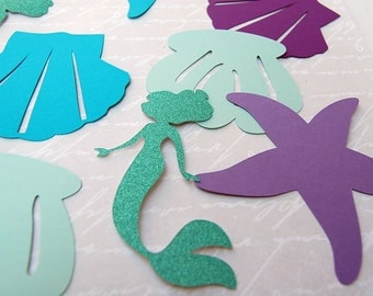 80 large mermaid jumbo confetti die cuts mermaid party bridal shower mermaid wedding decor shells seahorse sand dollar glitter mermaid