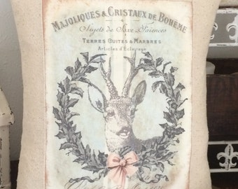 Christmas Deer Wreath Grainsack Pillow, Shabby Chic Pillow Cover with Pillow Form, ChristmasThrow Pillow, Cottage Cushion