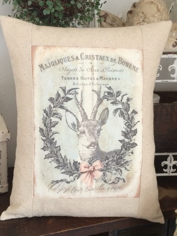 Shabby Chic Christmas Pillows : Christmas Deer Wreath Grainsack Pillow Shabby Chic Pillow