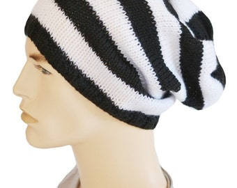 Slouchy Beanie, Mens Slouch Hat, Womens Slouch Hat, Black and White, Dread Hat, Oversized Hat, Knit Hat, Fall Hat, Winter Accessory,