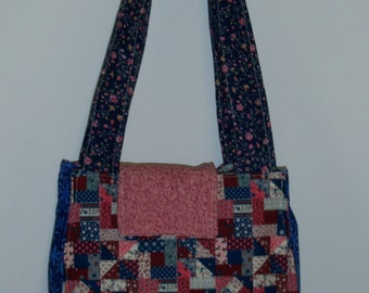 Red and Blue Quilt Purse/Tote