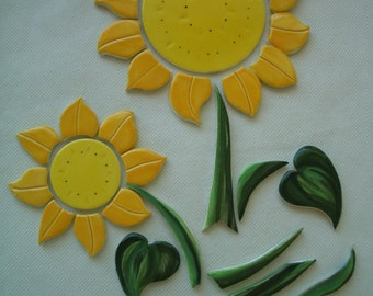 JLB - XXLARGE Yellow SUNFLOWER Set - Ceramic Mosaic Tiles