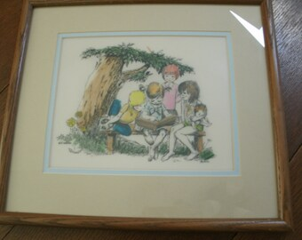 "74 Marvart Etching By Blair ""New Book"" Framed"
