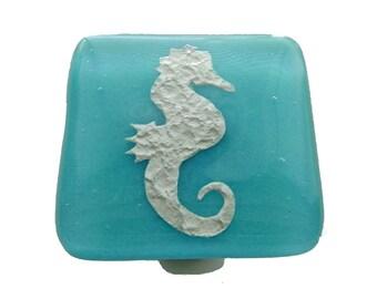 Seahorse Glass Knob by Uneek Glass Fusions. Turquoise coastal glass cabinet knob. Beachy home decor. Bathroom or kitchen ocean beach knob.