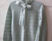 RESERVED  aqua blue cashmere blend sweater, dusty aqua blue tie neck sweater, antique aqua blue pointelle luxury blend sweater, romantic