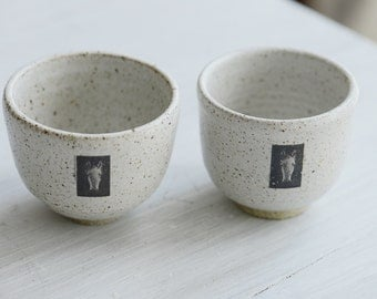 Set of 2 Wheel Thrown small speckled tea cups with small horse head on each