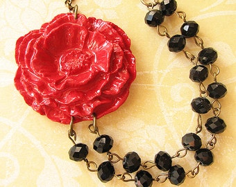 Flower Necklace Statement Necklace Red Jewelry Black Necklace Gift For Her Bridesmaid Jewelry Multi Strand