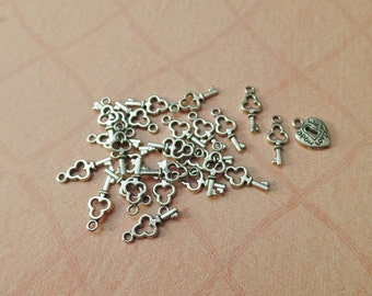 Mini Key Charms, Antique Silver, Double Sided 16x6.5x2mm, 1.5mm Hole, Pack Of 20