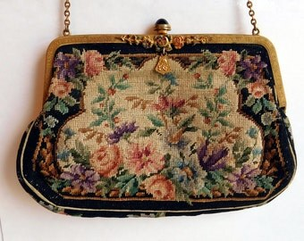 Vintage Petit Point Needlepoint Purse w/ Intricately Pressed Brass Frame, Enameled Flowers - Silk-Lined Handbag - Probably Made in Europe