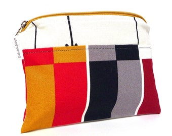 Color Blocked red, black, white, gold, yellow and grey cosmetic bag, make-up bag, gadget bag One of a Kind