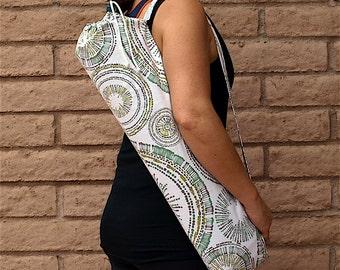 Yoga Mat Bag, green Yoga Mat Tote, Yoga Bag, Yoga Tote, Yoga Sling, Yoga Mat Carrier, Yoga Mat Holder with pocket, Handmade, CIRCULAR MOTION