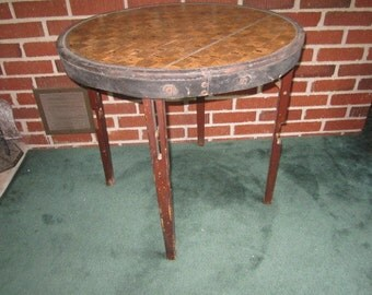 Antique Circa 1910 Primitive Round Wood and Leather Folding Table
