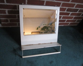 Vintage 1920s/30s Primitive Painted Metal Hanging Beveled Mirror with Shelf and Towel Bar
