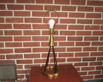 Vintage Mid Century Modern Black Metal and Brass Floor Lamp