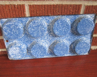 Antique Authentic Old Graniteware Blue Mottled Muffin Pan