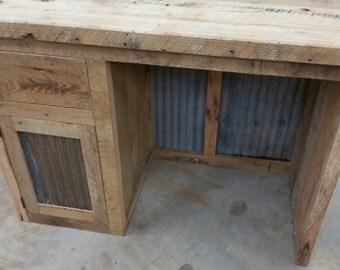 Custom Made Rustic Barn Wood Desk or Make up Cabinet FREE SHIPPING CRBWDMC825F